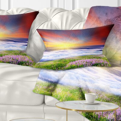 Sunrise with Blooming Flowers Landscape Printed Pillow Size: 12 x 20, Product Type: Lumbar Pillow