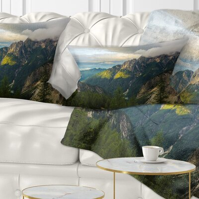 Sunrise with Reflection Landscape Photo Pillow Size: 12 x 20, Product Type: Lumbar Pillow
