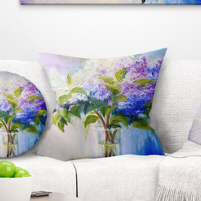 Lilacs in Vase Floral Pillow Size: 16 x 16, Product Type: Throw Pillow