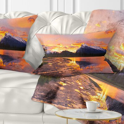 Sunset Above Vermilion Lakes Landscape Photography Pillow Size: 12 x 20, Product Type: Lumbar Pillow