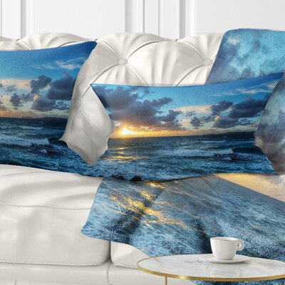 Sunset at Alghero Under Dramatic Sky Seashore Pillow Size: 12