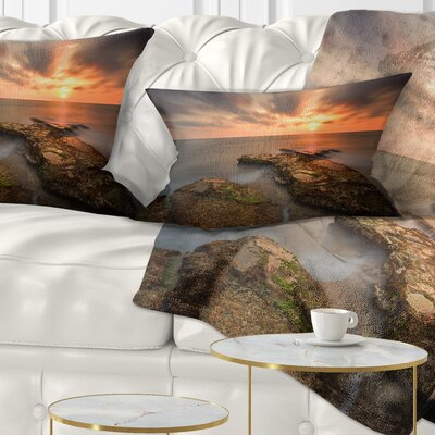 Sunset at Atlantic Coast Spain Seascape Photography Pillow Size: 12