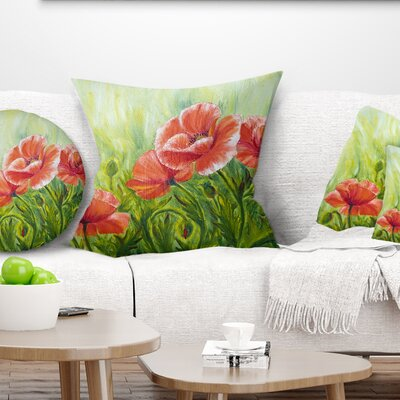 Blooming Poppies with Leaves Floral Pillow Size: 18 x 18, Product Type: Throw Pillow