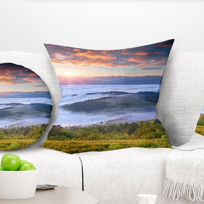 Sunrise over Foggy Waters Landscape Photography Pillow Size: 16 x 16, Product Type: Throw Pillow