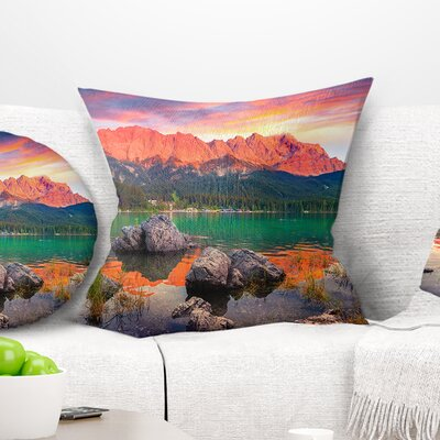 Eibsee Lake Sunset Landscape Photo Pillow Size: 16 x 16, Product Type: Throw Pillow