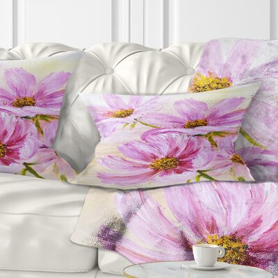 Blooming Cosmos Flowers Floral Pillow Size: 12 x 20, Product Type: Lumbar Pillow