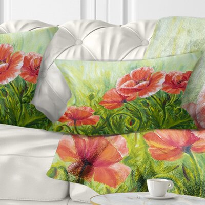 Blooming Poppies with Leaves Floral Pillow Size: 12 x 20, Product Type: Lumbar Pillow
