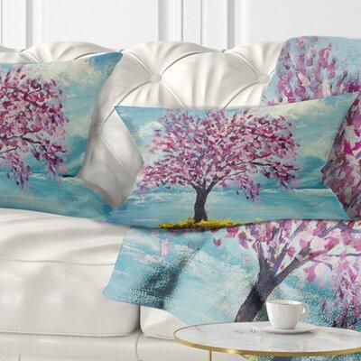 Blooming Sakura Flowers Floral Pillow Size: 12 x 20, Product Type: Lumbar Pillow