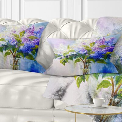 Lilacs in Vase Floral Pillow Size: 12 x 20, Product Type: Lumbar Pillow
