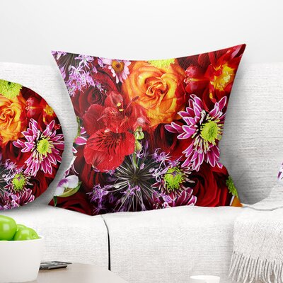 Flowers Background Floral Pillow Size: 18 x 18, Product Type: Throw Pillow