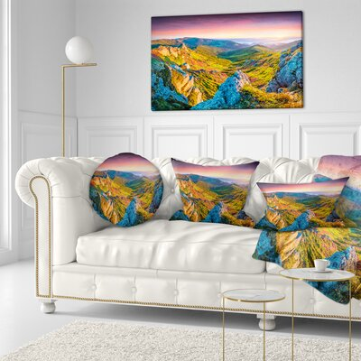 Rhododendron Flowers Landscape Photo Throw Pillow Size: 16 x 16