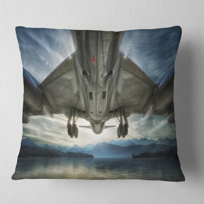 Plane over Beach and Sea Seashore Photography Pillow Size: 18 x 18, Product Type: Throw Pillow