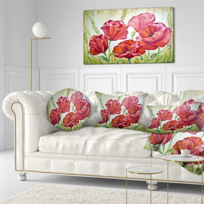 Poppies in Floral Throw Pillow Size: 20 x 20