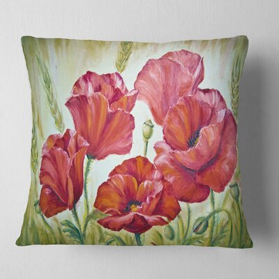 Poppies in Floral Pillow Size: 16 x 16, Product Type: Throw Pillow