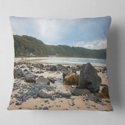 Pretty Beach with Small and Big Rocks Seashore Pillow Size: 26 x 26, Product Type: Euro Pillow