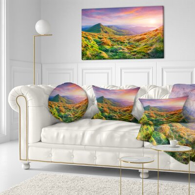 Pretty Sunset in Mountains Landscape Photography Throw Pillow Size: 20 x 20