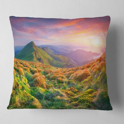 Pretty Sunset in Mountains Landscape Photography Pillow Size: 16 x 16, Product Type: Throw Pillow