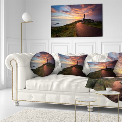 Punta Nariga Lighthouse Spain Seashore Photo Throw Pillow Size: 20 x 20