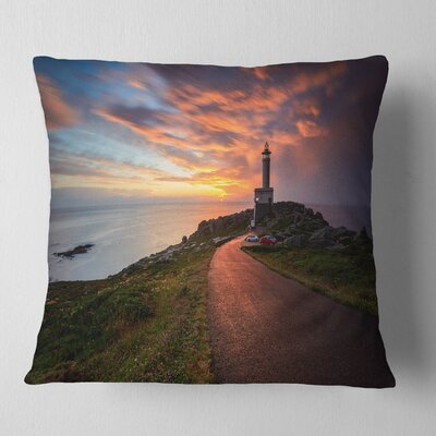 Punta Nariga Lighthouse Spain Seashore Photo Pillow Size: 26 x 26, Product Type: Euro Pillow