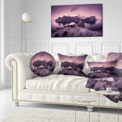 Night Sky at Mountains Landscape Photography Throw Pillow Size: 16 x 16