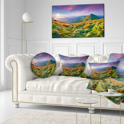 Sky and Mountains Landscape Photo Throw Pillow Size: 20
