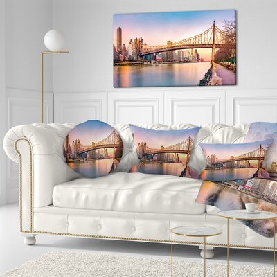 Queenboro Bridge Panorama at Sunset Cityscape Throw Pillow Size: 16 x 16