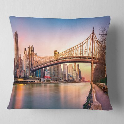 Queenboro Bridge Panorama at Sunset Cityscape Pillow Size: 26