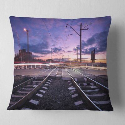 Rail Crossing with Blur Car Lights Cityscape Photo Pillow Size: 26 x 26, Product Type: Euro Pillow
