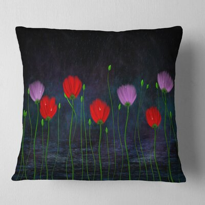 Rain and Flowers with Buds and Drops Floral Pillow Size: 18 x 18, Product Type: Throw Pillow