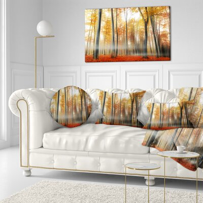 Leaves in Fall Landscape Photo Throw Pillow Size: 16 x 16