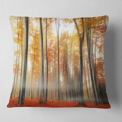 Leaves in Fall Landscape Photo Pillow Size: 18 x 18, Product Type: Throw Pillow