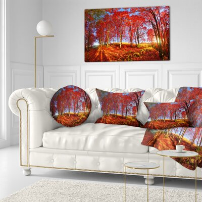 Forest in Carpathians Landscape Photography Throw Pillow Size: 16 x 16