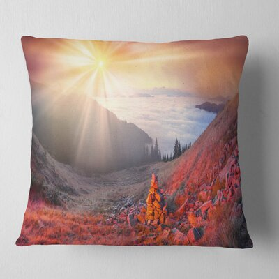 Beach Forest in Carpathians Landscape Photography Pillow Size: 16 x 16, Product Type: Throw Pillow