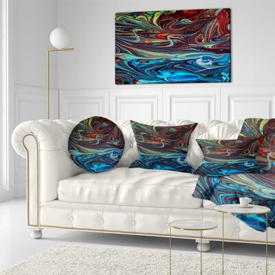 Abstract Acrylic Paint Mix Abstract Throw Pillow Size: 20 x 20