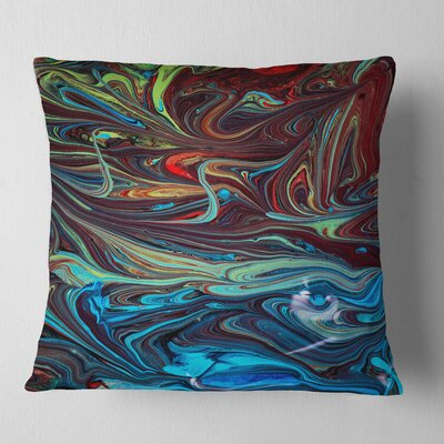 Abstract Acrylic Paint Mix Pillow Size: 18 x 18, Product Type: Throw Pillow