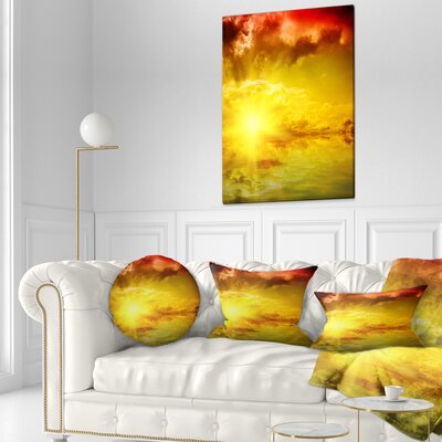 Dramatic Sky with Sun Landscape Printed Throw Pillow Size: 16 x 16