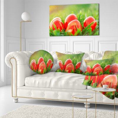 Easter Eggs in Grass Landscape Photography Throw Pillow Size: 16 x 16