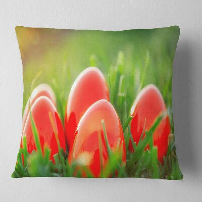 Easter Eggs in Grass Landscape Photography Pillow Size: 18 x 18, Product Type: Throw Pillow