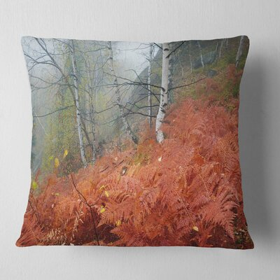 Fern in Foggy Fall Fay Landscape Photo Pillow Size: 18 x 18, Product Type: Throw Pillow