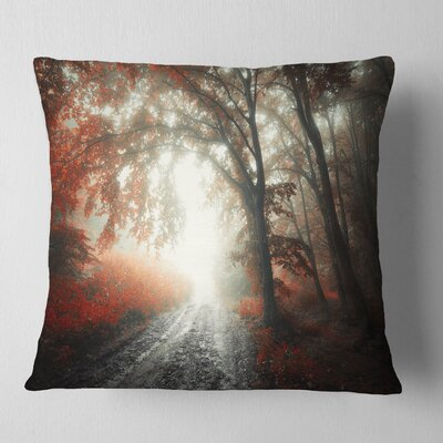 Leaf on Tree in Foggy Forest Landscape Photography Pillow Size: 16 x 16, Product Type: Throw Pillow
