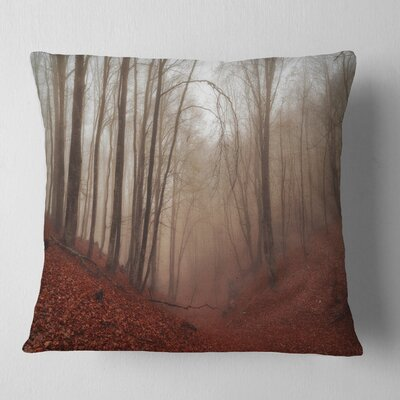 Leaves in Foggy Fall Forest Landscape Photography Pillow Size: 18
