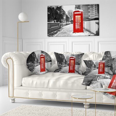 London Telephone Booth Cityscape Throw Pillow Size: 20 x 20