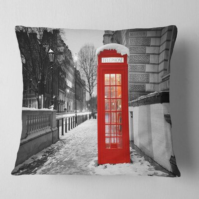 London Telephone Booth Cityscape Pillow Size: 16 x 16, Product Type: Throw Pillow