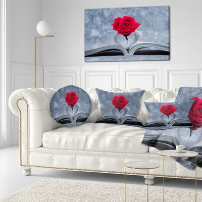 Rose Inside the Book Floral Throw Pillow Size: 20 x 20