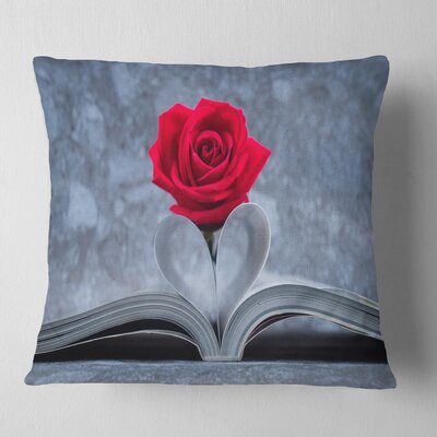 Rose Inside the Book Floral Pillow Size: 16 x 16, Product Type: Throw Pillow