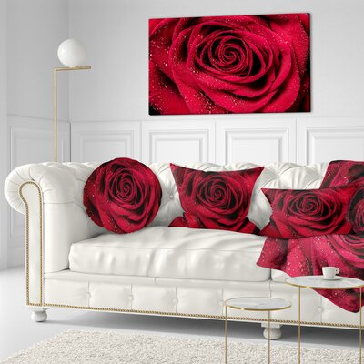 Rose Petals with Rain Droplets Floral Throw Pillow Size: 16 x 16