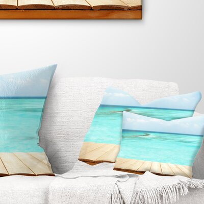 Wooden Planks on Sea Background Seascape Pillow Size: 12 x 20, Product Type: Lumbar Pillow