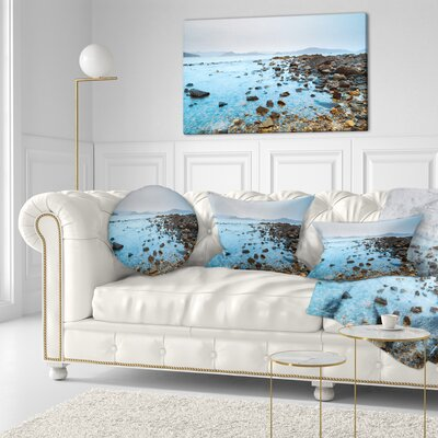 Hong Kong Port Shelter Stony Beach Seashore Throw Pillow Size: 16 x 16