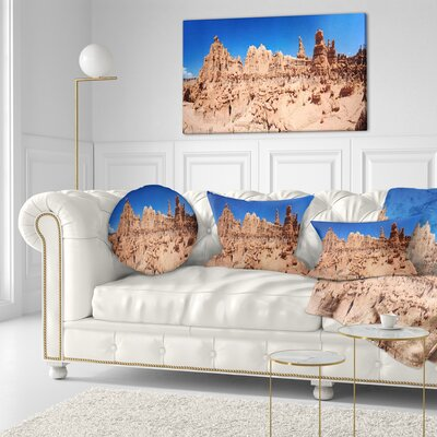 Hoodoo Rock Pinnacles in Goblin Valley Landscape Printed Throw Pillow Size: 20 x 20