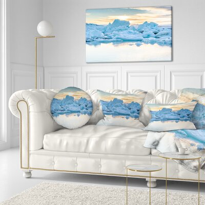 Icebergs in Glacier Lagoon Seascape Throw Pillow Size: 20 x 20